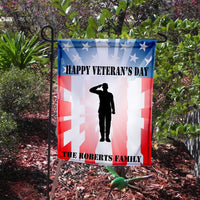Soldier Saluting on a USA Flag with Veteran's Day Greetings and Family Name