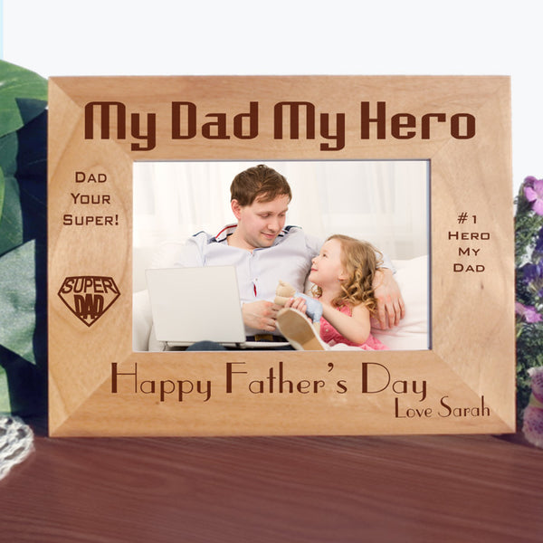My Dad My Hero picture frame with wide photo