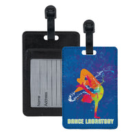 full color hip hop street dance team logos printed on luggage tags with id card slot in back.