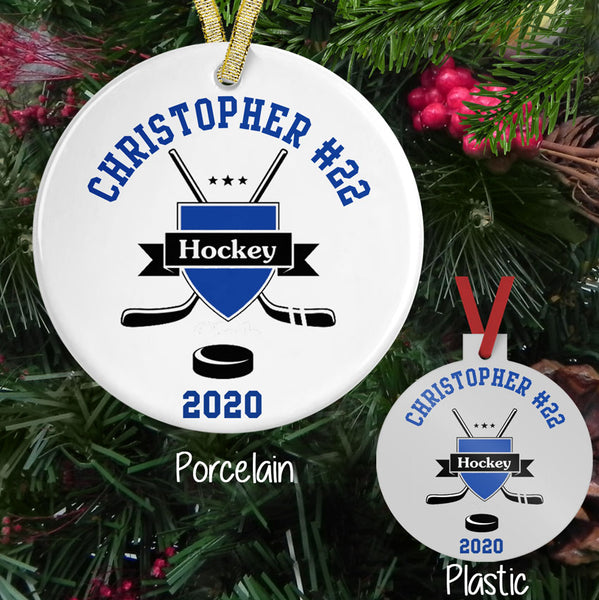 Hockey Crest Personalized Christmas Ornament