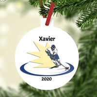 "plastic 3"" christmas ornament with hockey flash design"