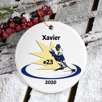 "Porcelain 3"" round ornament with hockey flash design"