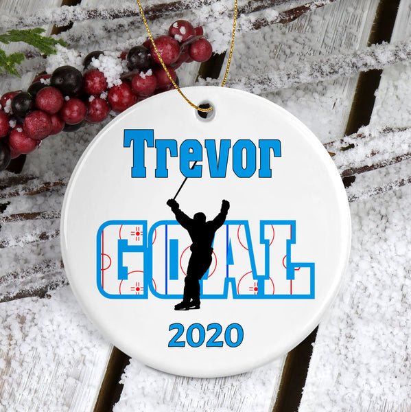 Hockey Goal Score Personalized Porcelain Christmas Ornament