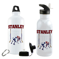 Showing both Aluminum and Stainless Steel Water Bottles with Hockey Rink Design