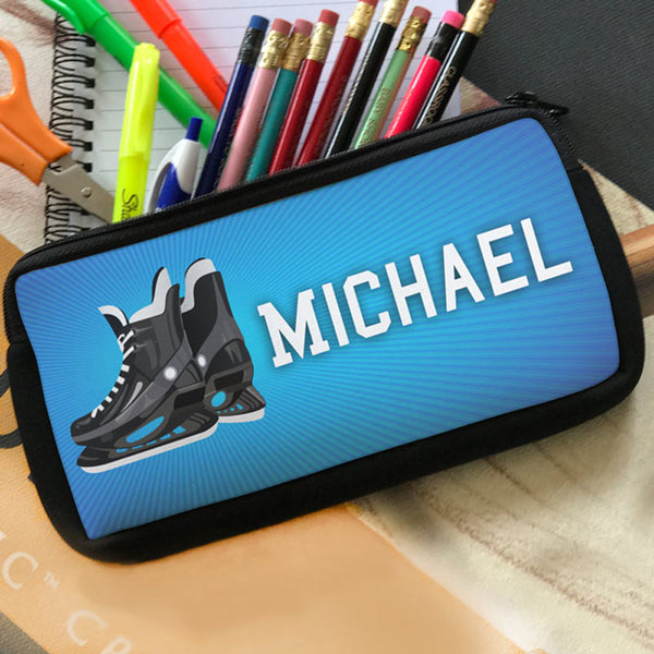 Hockey Skates Pencil Cases Custom Printed With Your Name