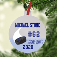 Plastic Ball Shaped Ornament with Stem Personalized with hockey puck swoosh image and four lines of personalization