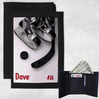 hockey skates puck and stick on a custom wallet personalized with any name and jersey number