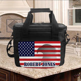USA Flag with Eagle Lunch Cooler and any name.  This is the Large Cooler
