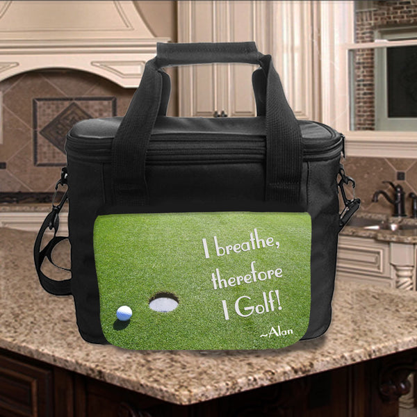 Golf Green design on custom lunch cooler tote