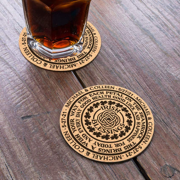Circular Irish Blessing on Round Cork Coasters Personalized with any text