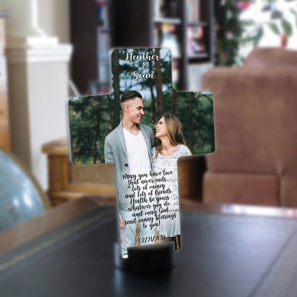Any couples photo desk cross with Irish Blessing, their names and a date