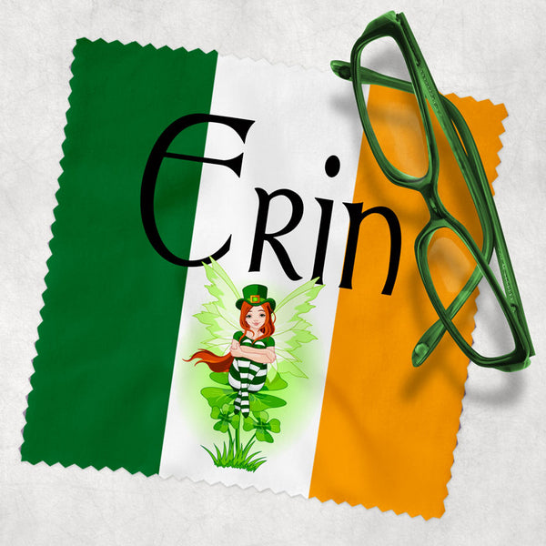 Green white and yellow background like the flag or ireland and an adorable Irish Leprechaun Fairy along with any name on your choice of size eyeglass lens cleaning cloth