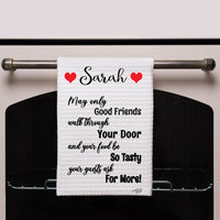 Kitchen Quote towel with hearts surrounding your name