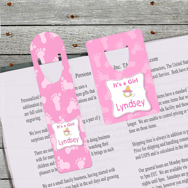 It's a girl bookmarks available in two sizes with baby feet background and a pacifier along with any name