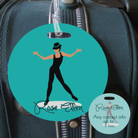 4 in round bag tag for jazz dancer this image also shows the back id side set up