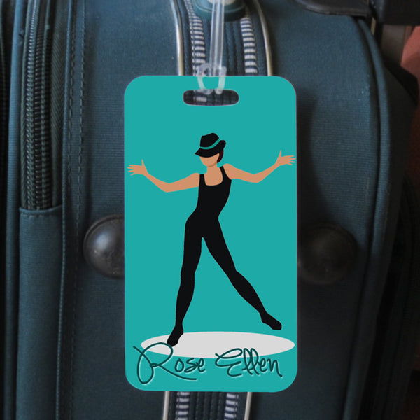 Jazz Dancer wearing black leos and hat on tealish green background.  All jazz dance tags have this design.  sports bag tag front side with name