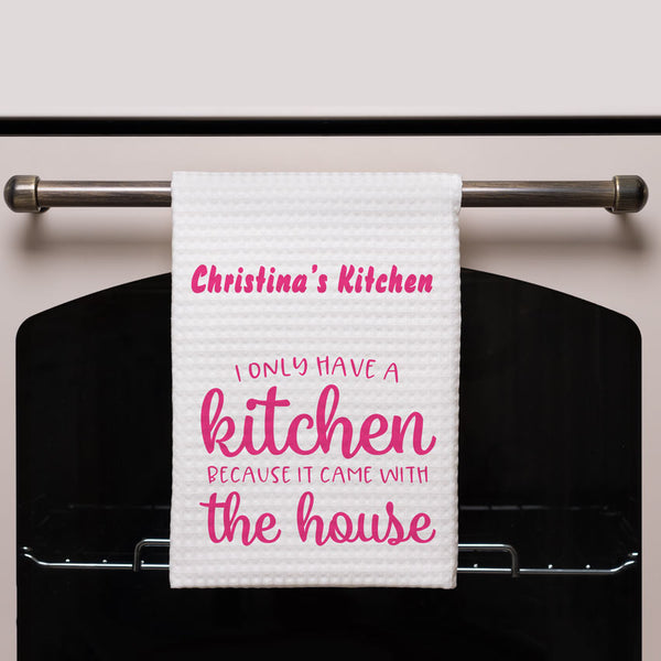 Kitchen towel hanging on stove. I only have a kitchen design with your name or custom text