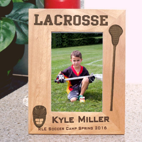 personalized wood lacrosse frame for tall photos