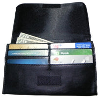 inside wallet with credit card and cash compartments