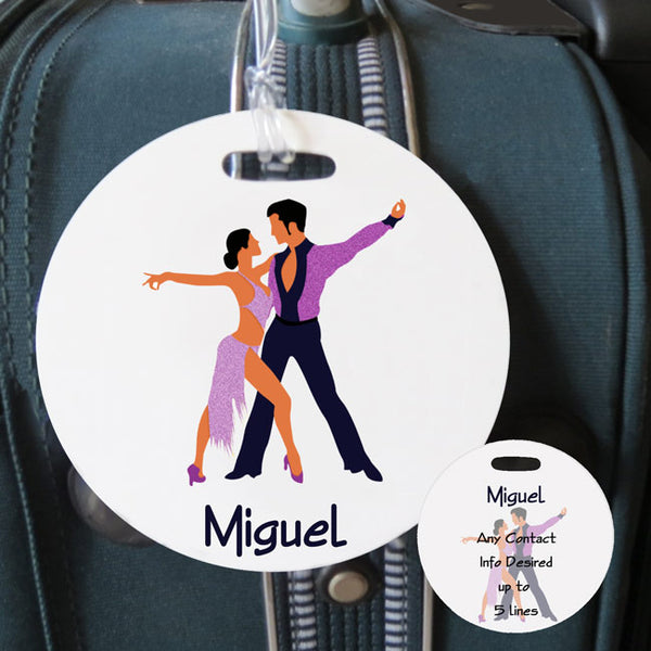 "4"" round bag tag with latin dancers in sparkly costume. Name on side one, name and contact info on side 2"