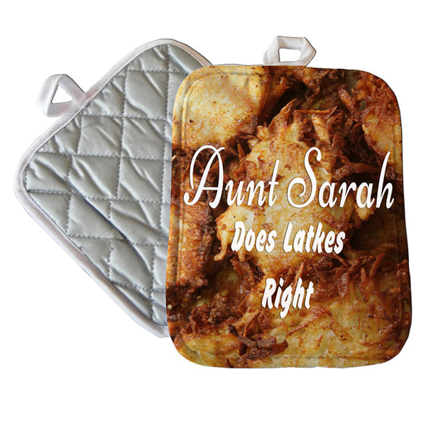 "7"" x 9"" Pot Holder photo of potato pancakes with your personalized text"
