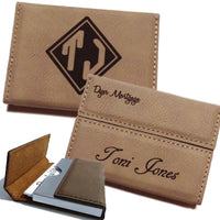 Image shows open and closed as well as front and back personalization of tan vegan leather business card holder