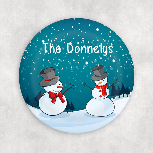 Two snowmen in a colorful winter snow scene with any personalization