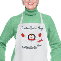 Personalized snowman eating snowflakes aprons with your custom text