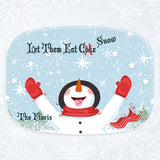 snowman letting snow flakes fall on his tongue in childlike play. bright and fun winter scene serving platter with any text on top and bottom
