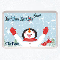 snowman with snowflakes on his tongue in a winter snow scene on a personalized serving tray with your text on top and bottom