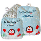 "Snowman with Snowflakes on his tongue on an 8"" x 8"" or 7"" x 9"" Pot Holder personalized with any name"
