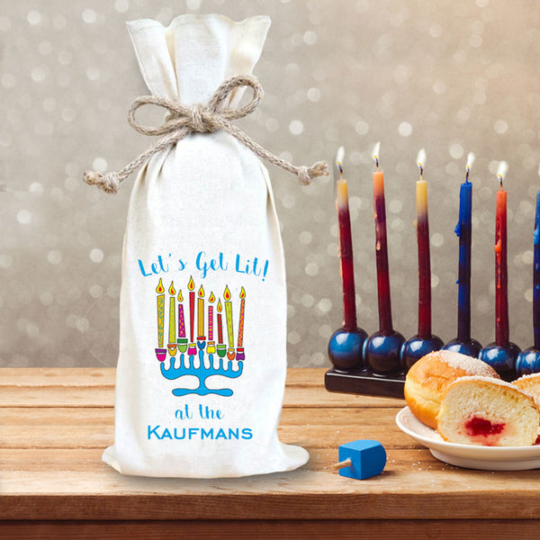 Custom Wine Bottle Gift Bag with Menorah and Let's Get Lit personalized with any name or custom text
