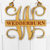 Letter W with long last name door hanger monogram sign