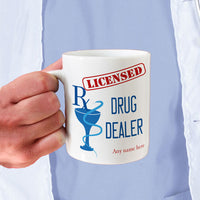Personalized Pharmacist mugs with Prescription grinding  RX Mortar  a Licensed Stamp and Drug Dealer. Personalized with your name