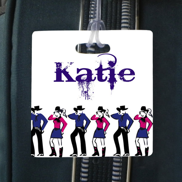 line dance personalized 3.5 inch square bag tag