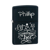 Black Genuine Zippo Lighter Engraved with Funny Lit As A Christmas Tree and any name