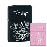 Black and Pink Personalized Lit As A Christmas Tree Zippo® Lighters