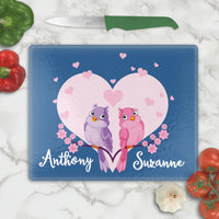 Adorable Love Birds sitting on a branch in front of a heart  personalized with any two names