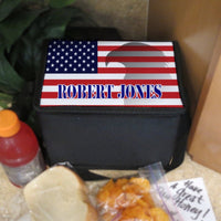 Lunch Cooler Tote with Shoulder Strap USA Flag with Eagle and Name