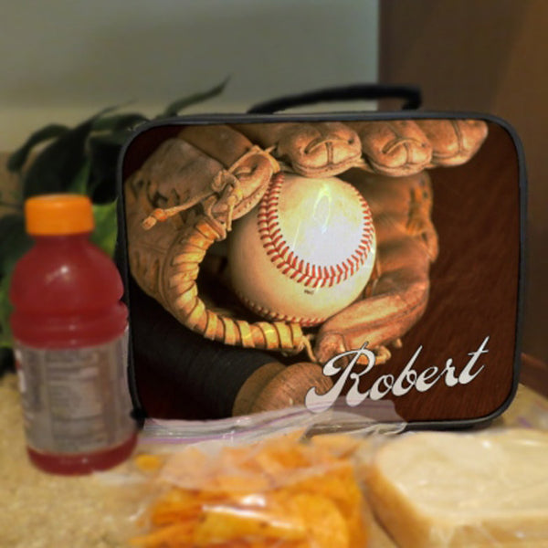 Lunch Box with Handle Baseball Glove and Ball, Personalized