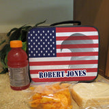 Lunch Bag with Handle USA Flag with Eagle and your name