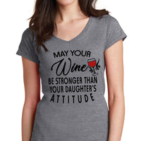 Gray Vee Neck Tee Shirt with May your wine design in black and red