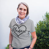 Memaw in a Heart on your choice Color Tee Shirt - shown in heather