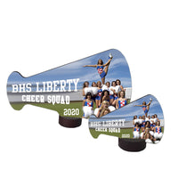 Megaphone Desk Awards with base Wide Orientation with your photo and custom text