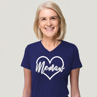 Memaw in heart shown on Navy Blue Tee Shirt