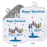 "Name as a base to candles in Menorah on 8"" x 8"" or 7"" x 9"" pot holders"