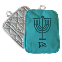 "Personalized Menorah Design Hanukkah Pot Holder 7"" x 9"""