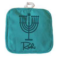 "Personalized Menorah Design Hanukkah Pot Holder 8"" x 8"" with your name"