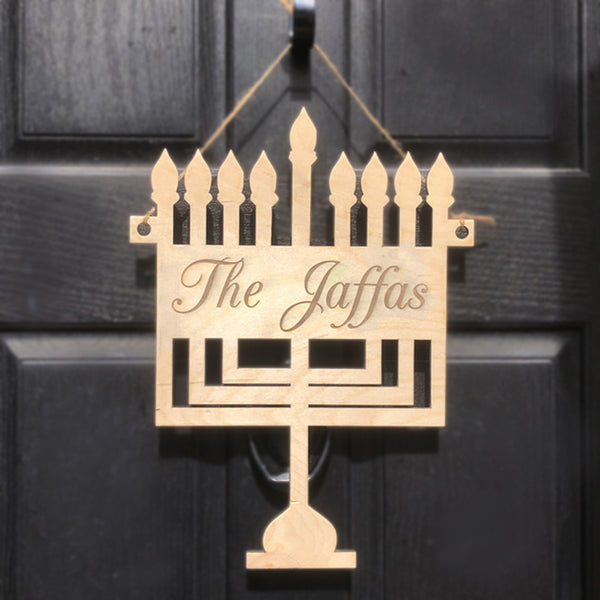 Menorah Shape Wood Door Sign Decor with your name engraved.