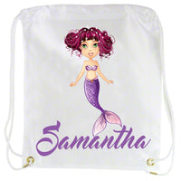 Purple Mermaid and name on custom draw string back pack for young girls
